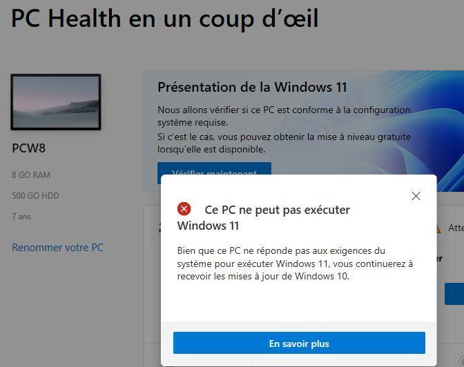 Windows 11 pc pas compatible